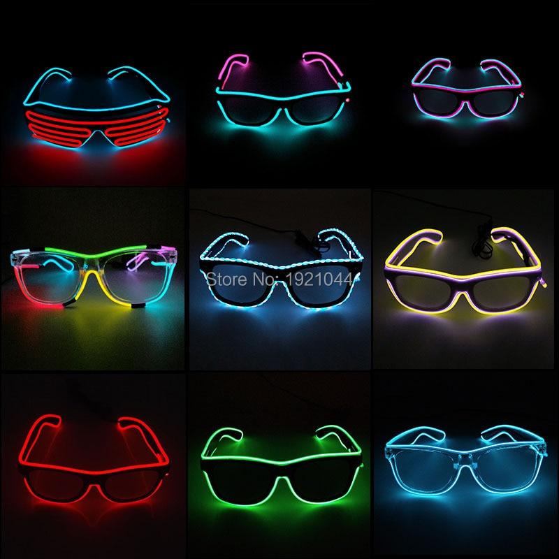 Hot sales EL Glasses EL Wire Fashion Neon LED Light Up Shutter Shaped Glasses Rave Festival Party Decorative Sunglasses