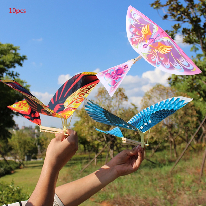 10Pcs Elastic Rubber Band Powered Flying Birds Kite Funny Kids Toy Gift Outdoor