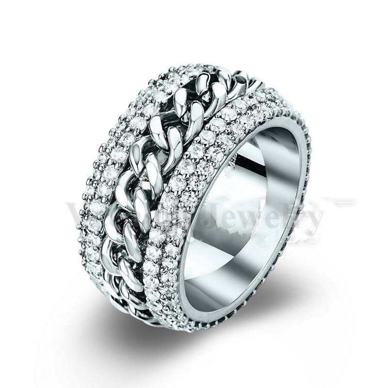 Vecalon Rotation chain ring Women Men Jewelry 240pcs AAAAA Zircon Cz 925 Sterling Silver lover Engagement