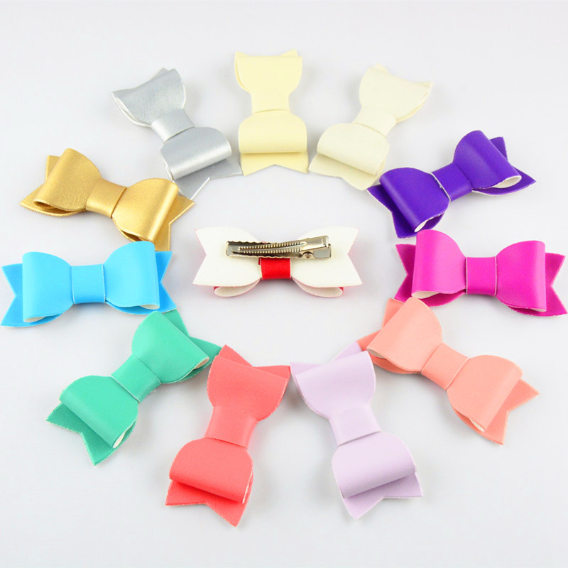 12 pcs/lot , Faux Leather Bow clip, Artificial Leather Hair clips Hair Accessories