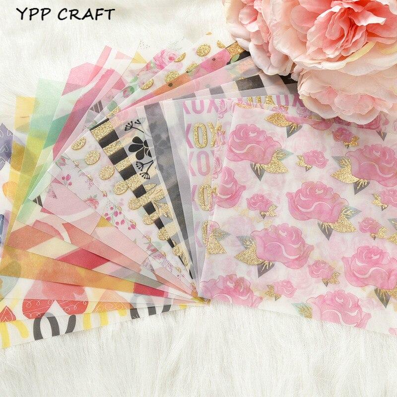 YPP ARTISANAT Fleurs Motif Vélin Papier Découpes pour Scrapbooking Heureux Planificateur/Fabrication De Cartes/Journalisation Projet