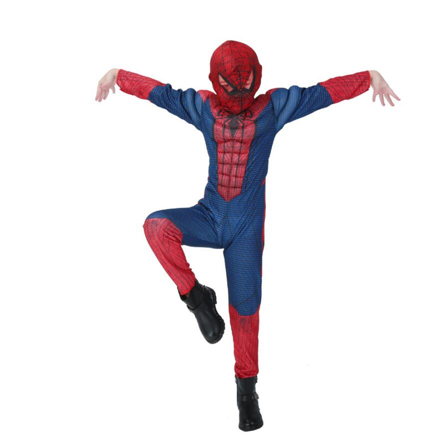 Muscle spiderman costume children kid boy girl halloween costume the spider man mask ball Masquerade party clohing