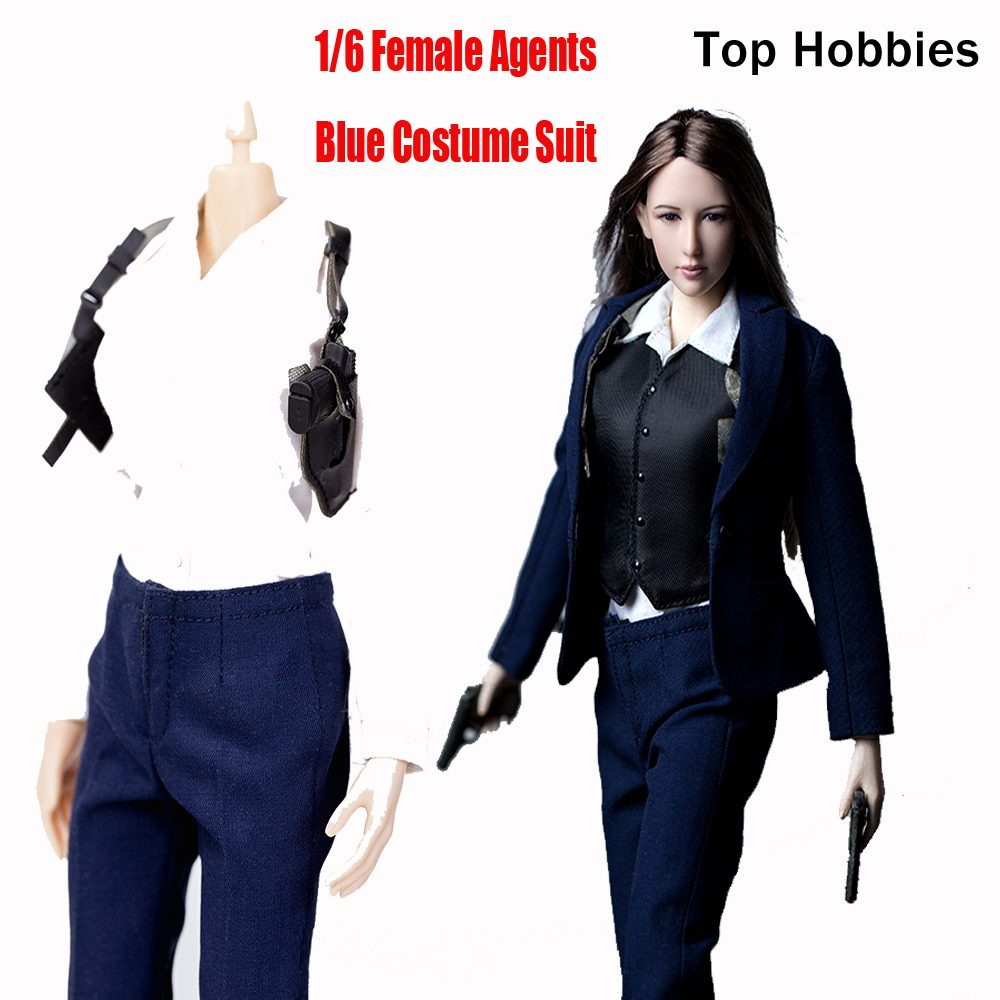 1/6 Scale CIA Female Agents Suit Blue Costume Set+Trousers For 12 Phicen Action Figure Doll Toys Not Include Head w Other Annex кашпо jia cheng кашпо