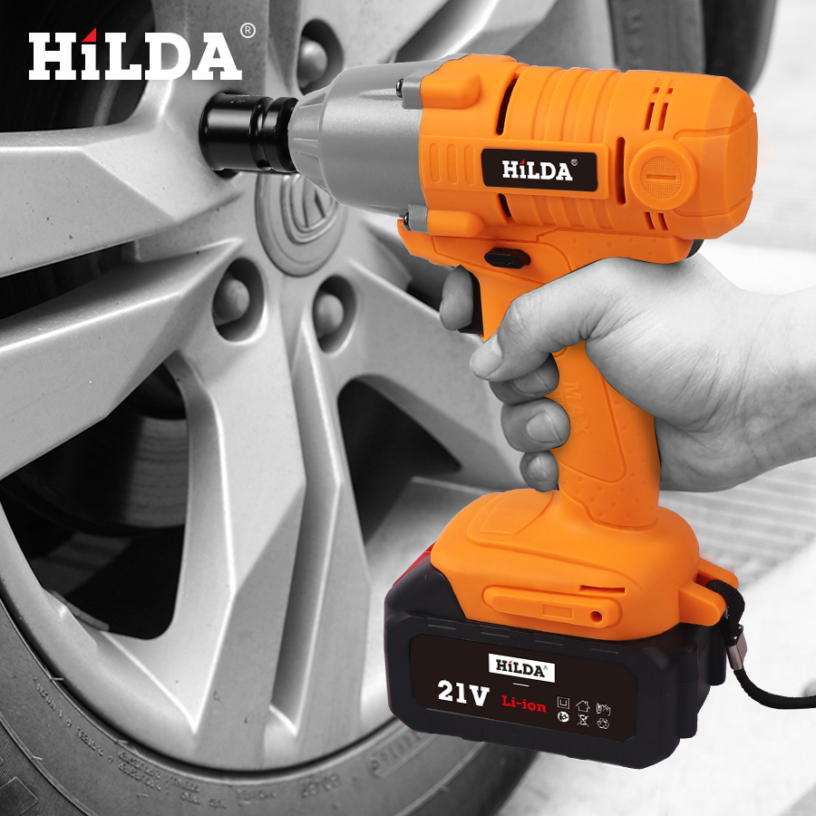 HILDA 21V Cordless Impact Electric Wrench Brushless Socket Wrench Power Tools 6