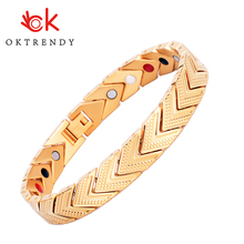 Oktrendy Magnetic Bracelet Bangle for Men Women 4 in 1 Health Care Germanium Healing Stone Arthritis