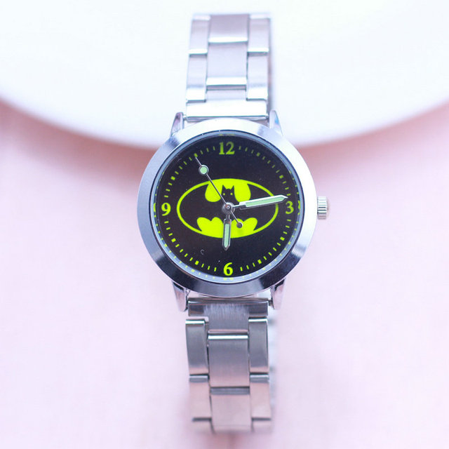 2018 Fashion batman Spiderman superman Kids Steel Strap Clock Watch Sports Wrist