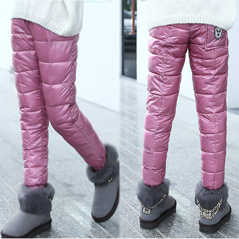 Image 3 - Winter Children Down Cotton Clothing Boys Pants Girls Leggings Kids Warm Down Trousers Windproof Waterproof Snow Pants For Kids-in Pants from Mother & Kids