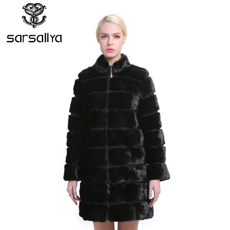 SARSALLYA Real Mink Fur Coat for Women Natural Genuine 38-58 plus size  Fur Coats Luxury Black Color Customized Size