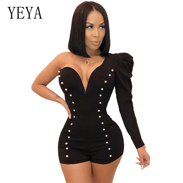 YEYA One Shoulder Sexy Playsuit Long Sleeve Deep V Neck Beaded Elegant Jumpsuit Romper Club Party Overalls Skinny Women Playsuit
