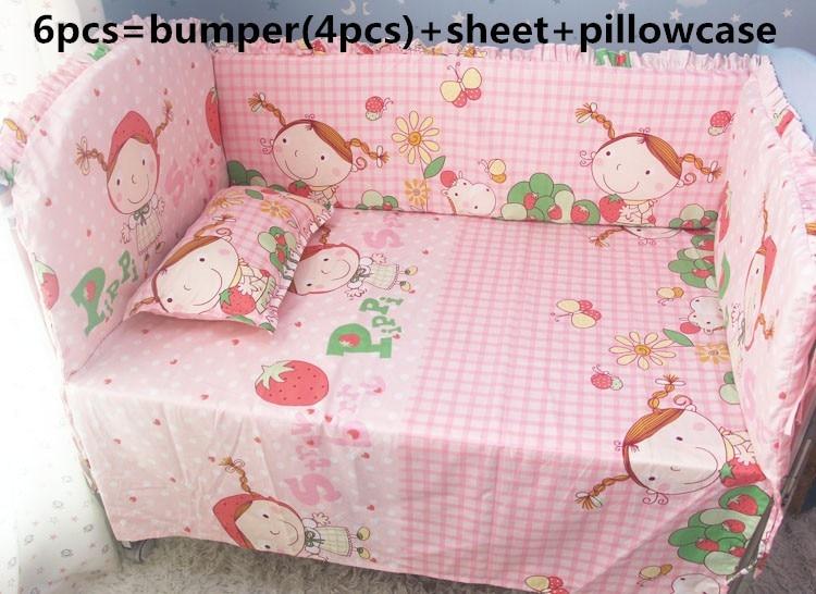 Promotion! 6PCS Crib Bedding Set Bumper Children,Baby Bedding Set  ,include(bumpers+sheet+pillow cover) promotion 6pcs baby bedding set cot crib bedding set baby bed baby cot sets include 4bumpers sheet pillow
