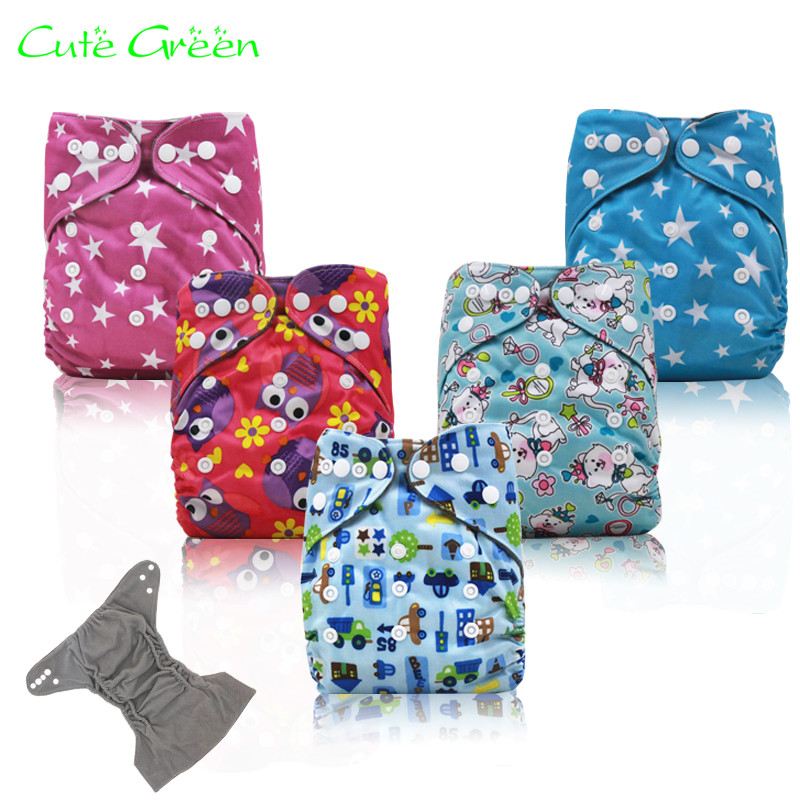 Cute Green OS PUL Fabric Reusable Cloth Diaper Cover Modern Cloth Nappies Diapers For Infants Washable Nappy With Double Gussets