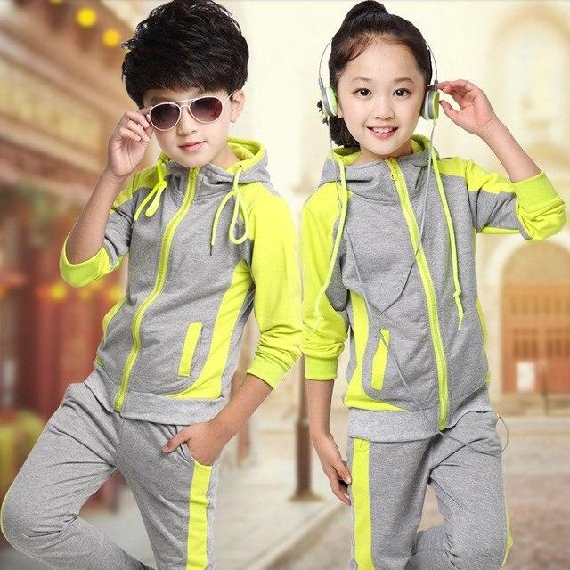 ed0be4b5a Otoño niño niña abrigo pantalones conjuntos Casual niño chándal Bunchems  con capucha niños ropa de manga