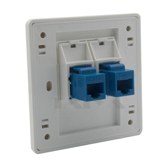 2 Ports Cat6 Rj45 Network Wall Plate With Female To Female