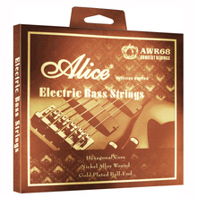 ALICE .045-.105 inch 4-strings Bass Strings Set  with Hexagonal Core, Nickel Alloy Wound, Gold Plated Bass End