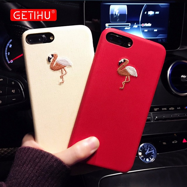 GETIHU Embroidery Flamingo Case For iPhone 7 6 6s Plus Protection Mobile Phone Case Cover For iPhone7 For iPhone 7 6 6s Cover 6