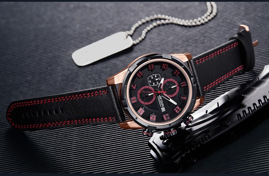 MEGIR Men's Sports Watch with Genuine Leather Strap 2082