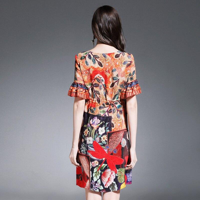 Robe De Pic Soie Empire Moitié Dames Manches Femmes Lâche Papillon Bureau Une Ligne Mince Imprimé Floral Printemps Élégant 100 Color tcpnqgF