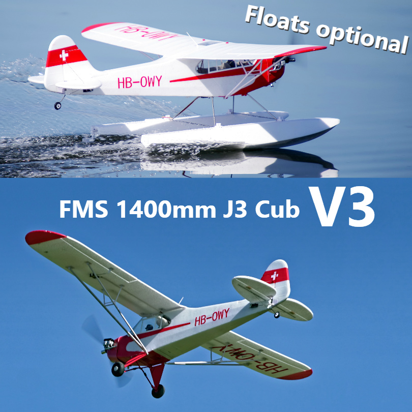 FMS 1400MM 1.4M J3 Cub Piper V3 Red Trainer Beginner 3S (Floats optional) PNP RC Airplane Scale Model Plane Aircraft Avion J-3 image