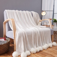 DREAMSOULE Pure Cotton Soft Warm Knitted Blanket With Puffy Balls Size 150 X 200cm White