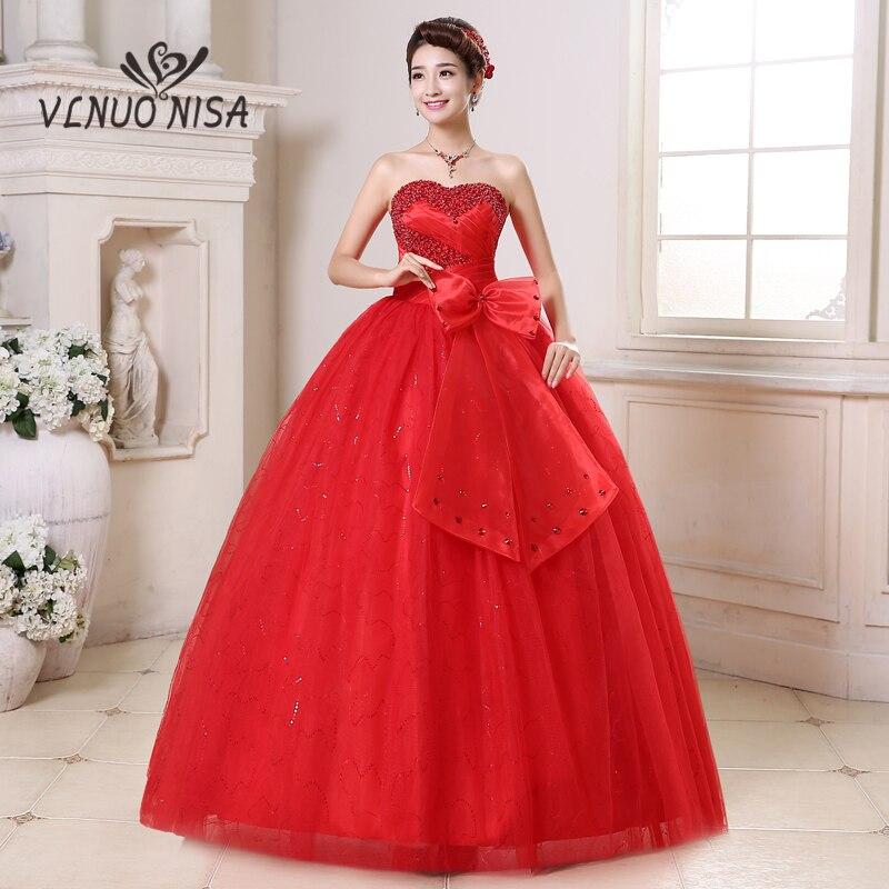 Beautiful Red And White Wedding Dress: VLNUO NISA Sweetheart Red Wedding Dress Beautiful Bow