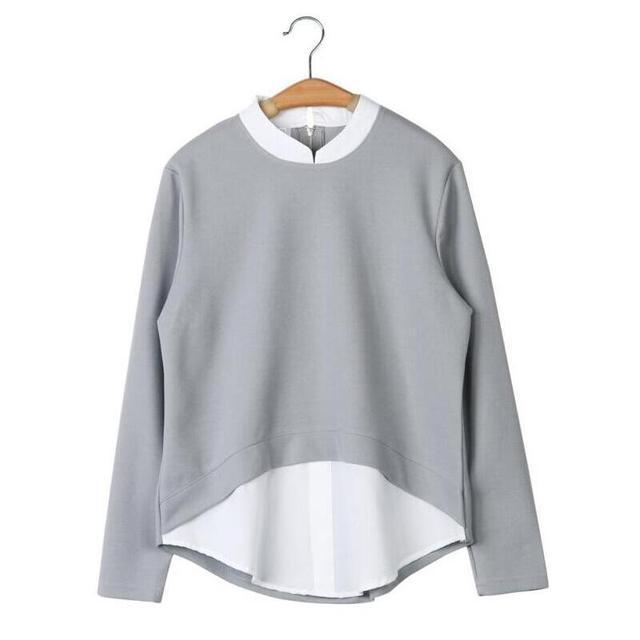 2018 Autumn New Women Blouses Casual Long Sleeve Blouse Patchwork Fake Two Pieces Shirts Plus Size 5XL Shirt Women Tops Blusas