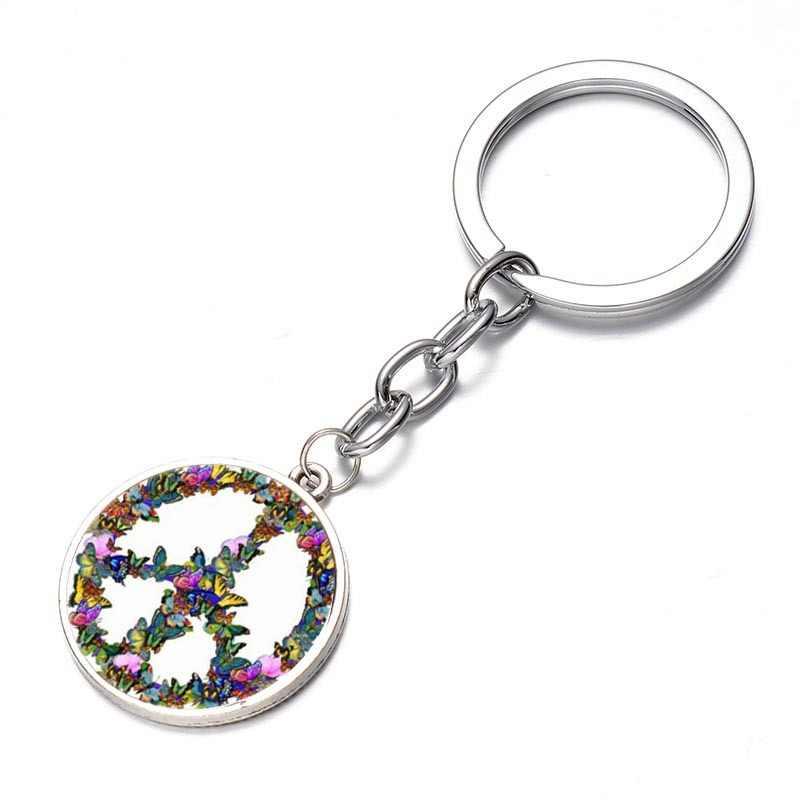 SONGDA yenilik kelebek kombinasyonu barış işareti anahtarlık DIY hippi barış otobüs işareti cam Cabochon kolye Charm anahtarlık tutucu