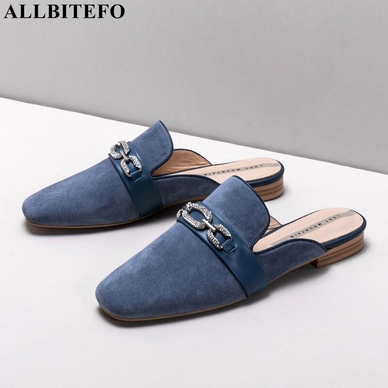 ALLBITEFO fashion brand full genuine leather Rhinestone low heeled women slippers summer women sandals comfortable women