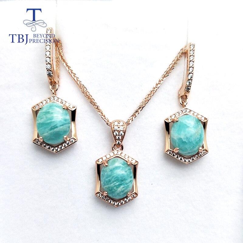 TBJ, zestaw biżuterii z naturalny amazonit wisiorek kolczyk 925 sterling silver różowe złoto dla kobiet na co dzień nosić w Zestawy biżuterii od Biżuteria i akcesoria na  Grupa 1