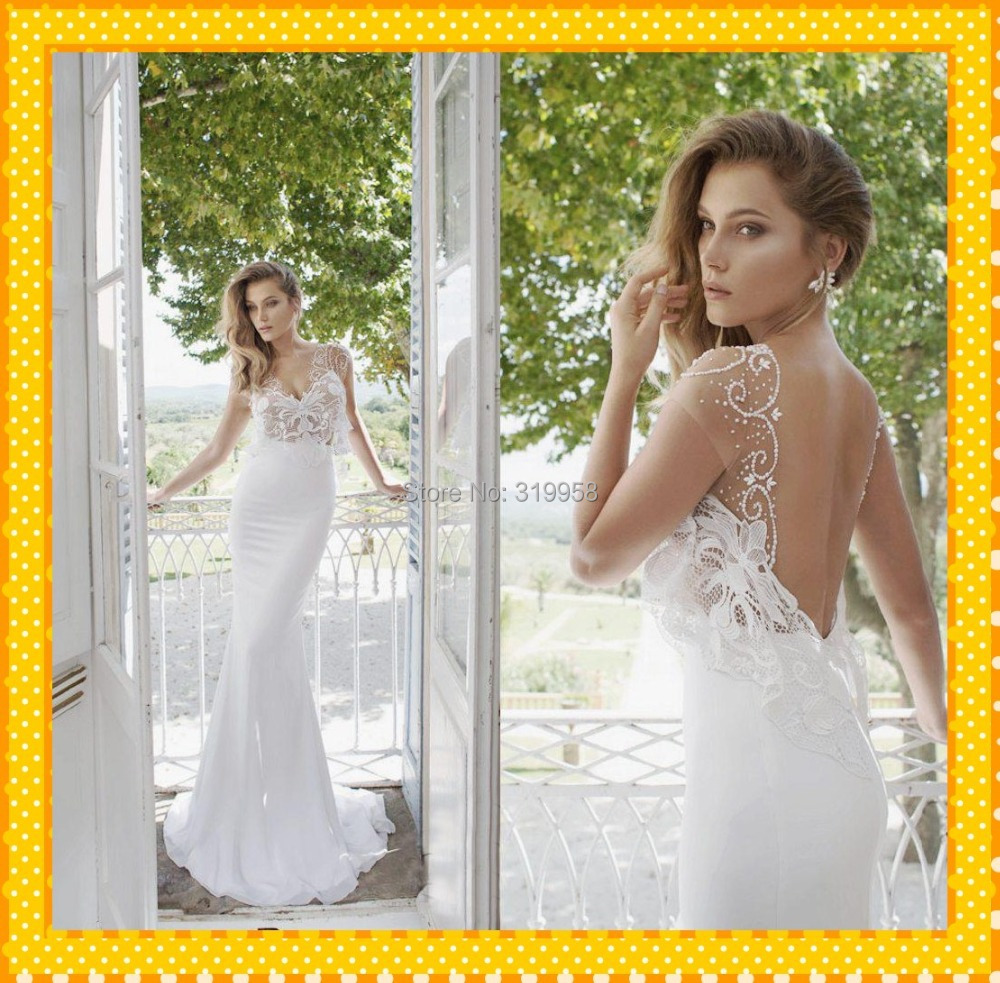 Deep V Neck Sexy Open Back Long Mermaid Lace White Wedding