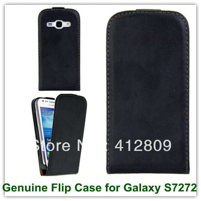 Genuine Black Leather <font><b>Flip</b></font> <font><b>Cover</b></font> Case <font><b>for</b></font> <font><b>Samsung</b></font> <font><b>Galaxy</b></font> <font><b>Ace</b></font> <font><b>3</b></font> <font><b>S7272</b></font> S7275 With Magnetic Enclosure Freee Shipping image