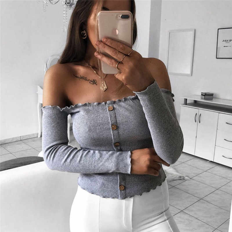 Sexy Women Casual Slim Solid Off Shoulder Top Long Sleeve T Shirt Regular Size Button Front Pullover Cotton Blend Clothes