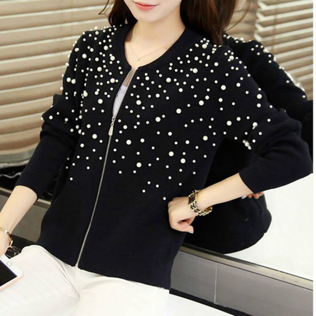 New Arrival 2019 Spring Women Cardigans Sweaters Knitted Christmas Sweater Tops Hiqh Quality Pearl beaded Cardigans Feminino