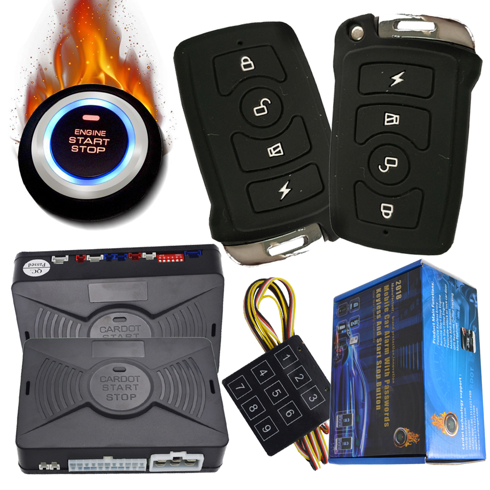 Passcodes Keyless Entry Car Alarm System With Start Stop