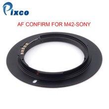 Pixco adaptador para lente de montaje de tornillo para cámara Sony Alpha Minolta MA, color negro, para M42 Sony AF Confirm