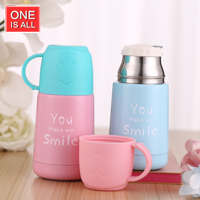 ONEISALL SB62017 210ML Mini Student Thermos Cup with Double Use Lid Vacuum Flask Stainless Steel Smile