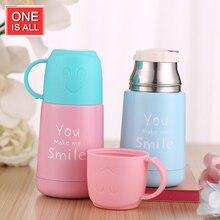 ONEISALL SB62017 210 ML Mini Student Thermoskanne Tasse mit Doppelnutzung Deckel Isolierflasche Edelstahl Lächeln Isolierte Wasserflasche