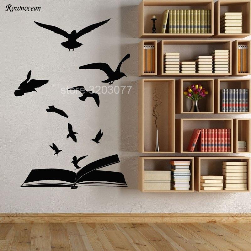 Творческий дом Декор Открытая книга стая Товары для птиц обучение библиотека Наклейки винил Книги по искусству настенные литературы чтени... ...
