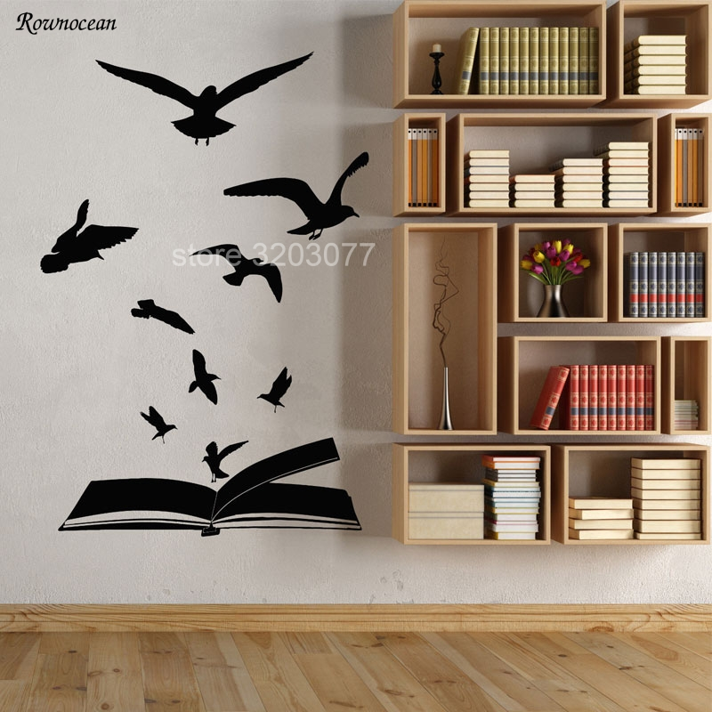 Creative Home Decor Open Book Flock Of Birds Learning Library Stickers Vinyl Art Wall Decal Literature Reading Room Office SK02