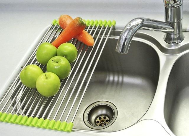 Acero inoxidable drenaje plegable del estante de goteo cocina platos  almacenamiento rackes corredor de pratosor prateleiras 9e685c7b98d6