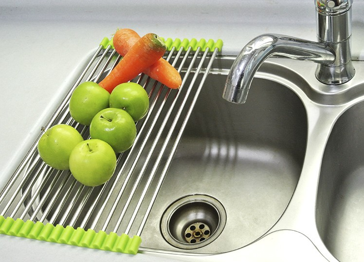 Stainless steel draining folding sink shelf dish rack drip shelf ...