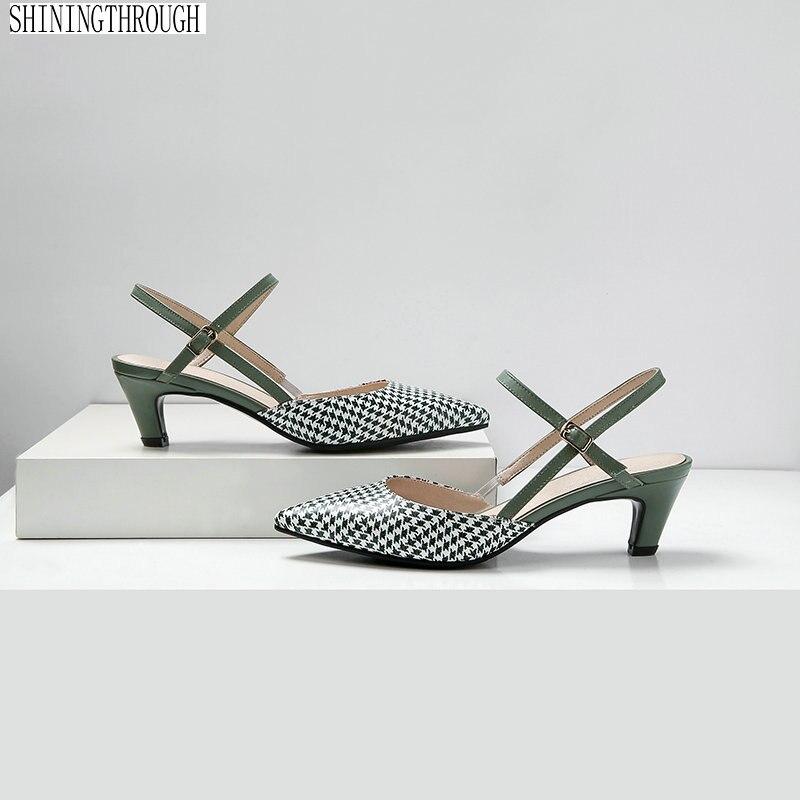 2019 ของแท้หนังขนาด 41 42 ผู้หญิงรองเท้าแตะ Pointed Toe รองเท้าส้นสูงรองเท้าแตะรองเท้าผู้หญิง-ใน รองเท้าส้นสูง จาก รองเท้า บน   1