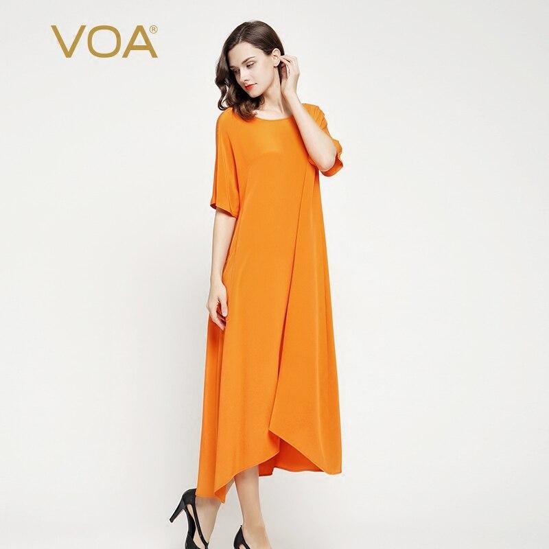 US $183.2 20% OFF|VOA 2018 Summer Orange Loose Brief Casual Heavy Silk Long  Dress Plus Size O neck Short Sleeve Leisure Women Maxi Dress A7065-in ...