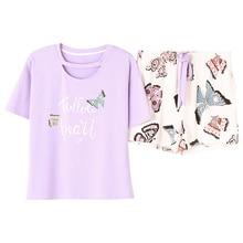 Cổ tròn In Bướm Top Và Nơ Phía Trước Quần Short Pajama Set 2019 Người Phụ Nữ Mới Ngắn Tay Áo Giản Dị Pajama Set M L XL XXL XXXL 4XL