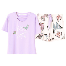 Round Neck Print Butterfly Top And Bow Front Shorts Pajama Set 2019 New Woman Short Sleeve Casual Pajama Set M L XL XXL XXXL 4XL