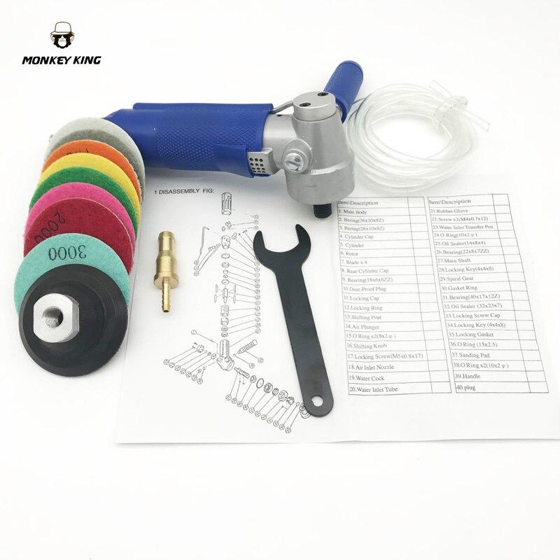 Professionale di Acqua Pneumatico Levigatrice Aria Umida Levigatrice/Lucidatore Angle Grinder 4500 rpm a velocità variabile c/w 8 lucidatura pad