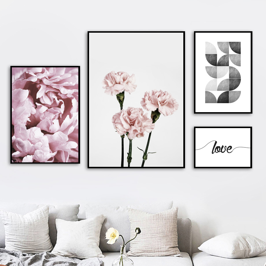 Carnation Rose Flower Love Quotes Wall Art Canvas Painting Nordic Posters And Prints Pictures Kids Room Girl Bedroom Decor