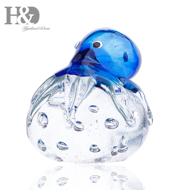 H & D 3.7 pouces à la main Art verre bleu pieuvre presse-papiers verre soufflé ornement mer animaux Figurines maison bureau décoration