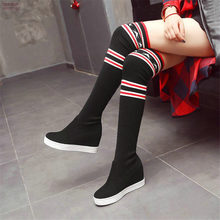 Elastic Thigh High Trainers Women Faux Suede Wedges Slip On Over The Knee Boots Heel Creepers Punk Sneakers Knitting Pumps