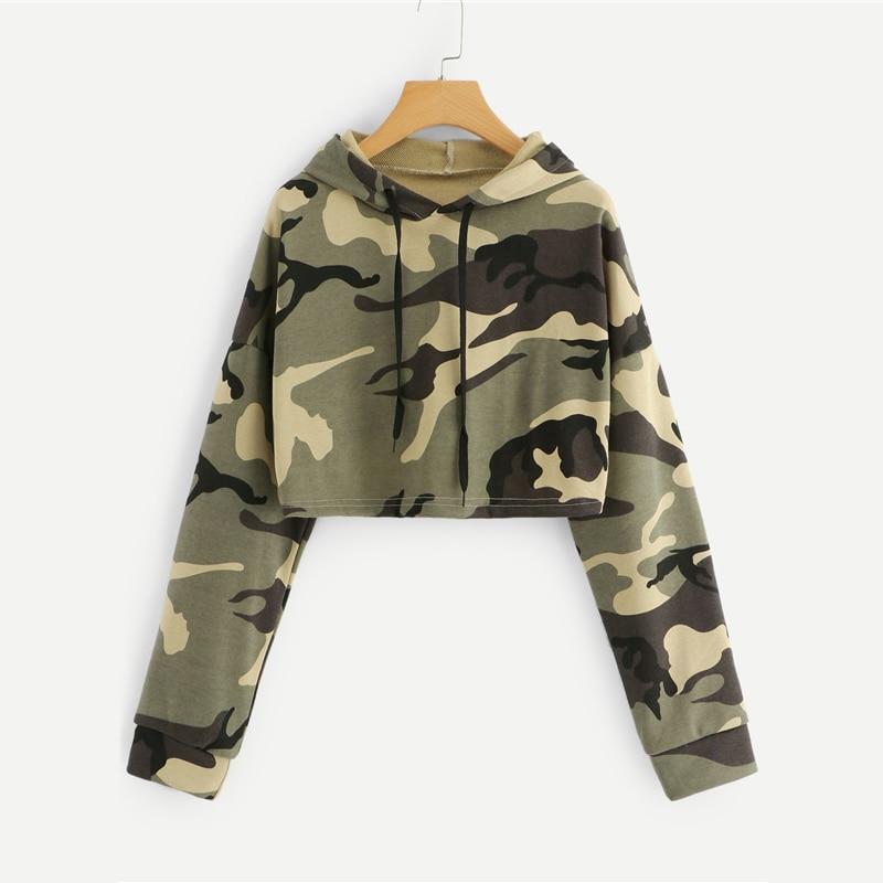 Drawstring Camouflage Print Crop Hoodie For Women