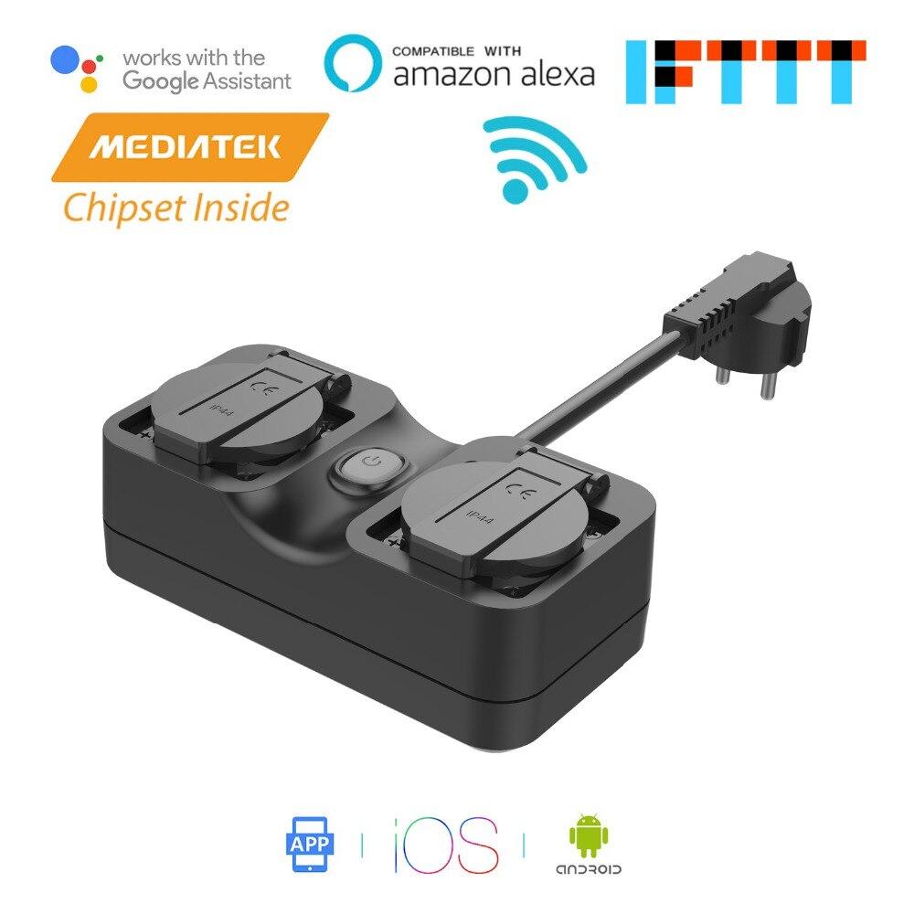 Smart WiFi Outdoor Plug IP44 Waterproof Alexa Google Assistant IFTTT Supported App Remote Control Meross MSS620EU
